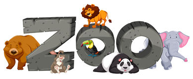 Zoo sign and many animals. Illustration Royalty Free Stock Photo