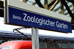 Zoo Station Train Sign Stock Images