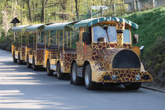 ZOO train. Small ZOO train with giraffe texture in city of ostrava royalty free stock image