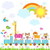 Zoo train. Carrying happy animals in a sunny day royalty free illustration