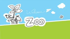 Zoo vector animals. Illustration for kids, hand drawn doodle style Stock Photos