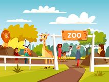 Zoo vector cartoon illustration or petting zoo with animals and visitors family and children. Zoo vector illustration or petting zoo cartoon design. Open zoo royalty free illustration