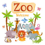 Zoo vector illustration with wild cartoon safari animals Stock Images