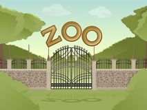 Zoo. Vector image of cartoon zoological garden background Royalty Free Stock Images