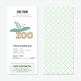 Zoo vertical banner. Zoo vector vertical banner template. The tour announcement. For travel agency products, tour brochure, excursion banner. Simple mono linear Stock Photo