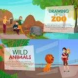 Zoo Visitors Horizontal Banners. With young artists drawing wild animals living in zoological garden cartoon vector illustration Royalty Free Stock Photography