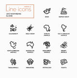 Zoo wayfinding - modern vector single line icons set Royalty Free Stock Photography