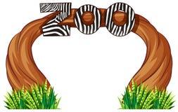 Zoo wejście z drewnem i trawą ilustracji