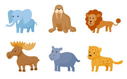 Zoo wild animals colorful set. Vector illustration Royalty Free Stock Photography