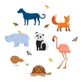Zoo wild animals flat set Stock Images
