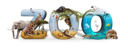 Zoo 3D Word and Animal Composite Stock Photography