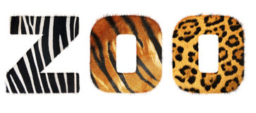 Zoo word from fur alphabet Royalty Free Stock Image
