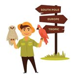 Zoo worker with parrot and owl stands neat direction pointer. Zoo worker in hat with bright parrot and white owl stands neat wooden direction pointer that shows Stock Image