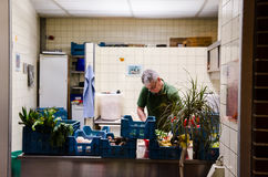 Zoo worker preparing meals for the animals at Berlin Zoo Royalty Free Stock Photos