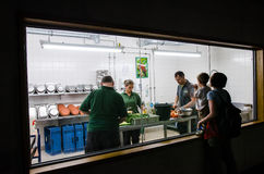 Zoo workers preparing meals for the animals at Berlin Zoo Stock Photo