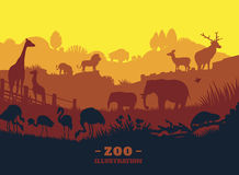 Zoo world illustration background, colored silhouettes elements, flat Stock Photo