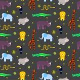 Zoo zwierząt dzieciaka bezszwowy deseniowy wektor royalty ilustracja