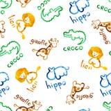 Zooabbildung, nahtloses Muster Stockbild