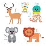 Zooalfabet med roliga tecknad filmdjur I j, K, l bokstäver imp Royaltyfria Bilder