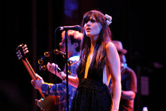 Zooey Deschanel, Hollywood Actress and singer, performs with her band She & Him at Apolo Royalty Free Stock Image