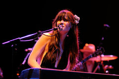 Zooey Deschanel performs with her band She & Him Royalty Free Stock Photo