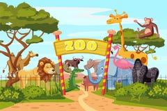 Zooingången utfärda utegångsförbud för tecknad filmaffischen med djur och besökare för safari för elefantgirafflejon på territori stock illustrationer