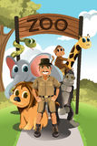 Zookeeper and wild animals. A vector illustration of a zookeeper and wild animals in the zoo Royalty Free Stock Photo
