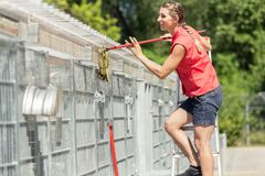 Zookeeper woman working on cleaning cage in animal shelter. With sweep royalty free stock photo