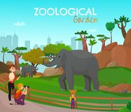 Zoological Garden Cartoon Poster. With adults and kids looking for wild elephants living in zoo vector illustration Stock Images