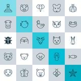 Zoologii ikony ustawiać Kolekcja królik, kaczka, szczur I Inni elementy, Także Zawiera symbole Tak jak ćma, niedźwiedź, kicia Fotografia Stock