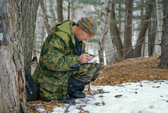 Zoologist in taiga 8 Royalty Free Stock Photography