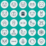Zoology Icons Set. Collection Of Fish, Night Fowl, Baboon And Other Elements. Also Includes Symbols Such As Mice, Monkey Royalty Free Stock Photography