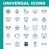 Zoology Icons Set. Collection Of Grizzly, Duck, Bunny And Other Elements. Also Includes Symbols Such As Bug, Kine Royalty Free Stock Photography