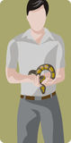 Zoology illustration series. Vector illustration of a man, holding a snake. Zoo concept Stock Photography