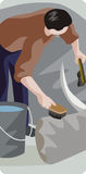 Zoology illustration series. Vector illustration of a zoo worker, washing elephant's feet Royalty Free Stock Photography