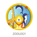 Zoology school discipline study about animals and fauna royalty free illustration