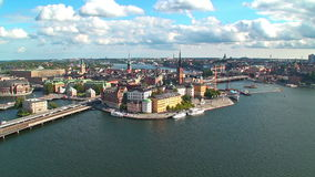Zoom aerial panorama of Stockholm, Sweden. Summer zoom aerial panorama of Stockholm, Sweden stock footage