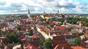 Zoom aerial panorama of Tallinn, Estonia stock video