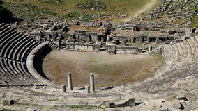 Zoom in aerial view of ancient roman theater ruins at Miletus, Turkish Milet stock video