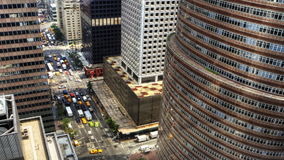 Zoom in aerial view of Traffic in New York City. A Zoom in aerial view of Traffic in New York City stock footage