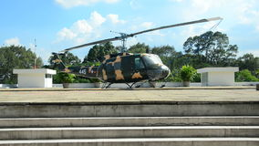 Zoom - American Huey Helicopter on the Roof - Independence Palace - Ho Chi Minh City. Former President Ngo Dinh Diem Residence during the Vietnam War stock video