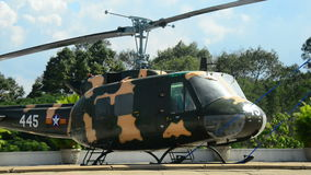 Zoom - American Huey Helicopter on the Roof - Independence Palace - Ho Chi Minh City. Former President Ngo Dinh Diem Residence during the Vietnam War stock video footage