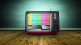 Zoom in animation of old TV turning on and no signal. Fuzz test pattern against green wall background stock video