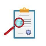 Zoom bada znalezisko lokalizuje papierowych dokumenty Vectorconcept wewnątrz Fotografia Stock