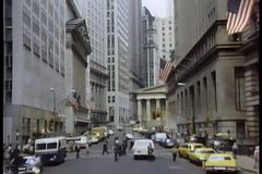 Zoom into building in downtown Manhattan stock video footage