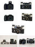 Zoom camera. Ultrazoom camera and a classic rangefinder camera. A series of images in a single image Stock Photos