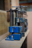 Zoom of carpenters tools. Zoom of blue carpenters tools Royalty Free Stock Images