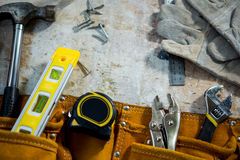 Zoom of carpenters tools Stock Images