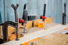 Zoom of carpenters tools. On the workshop Stock Photo
