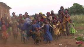 Zoom in, dancing tribe of pygmies stock video
